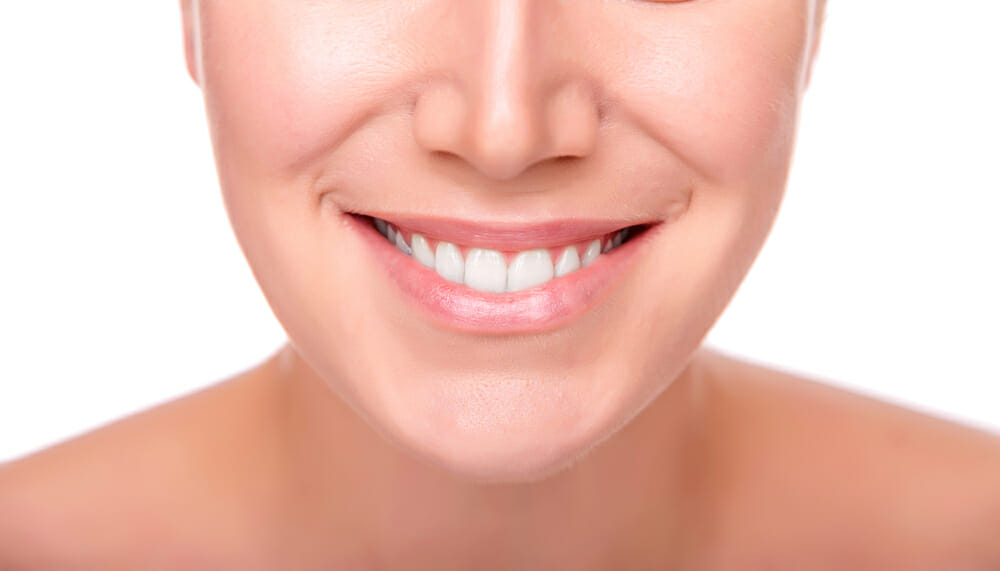 woman with white smile and straight teeth